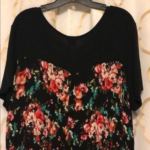 High/low tunic, black front with flowered back